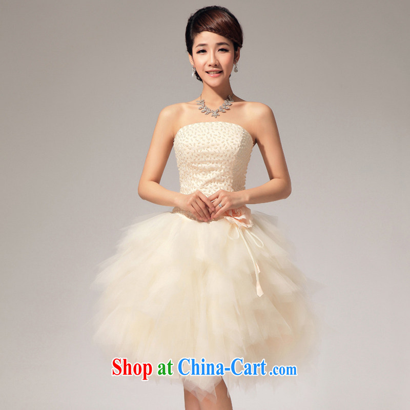 Moon 珪 guijin Korean version manually seamless beads lovely shaggy short skirt with floral short wedding dresses A 15 S code from Suzhou shipping