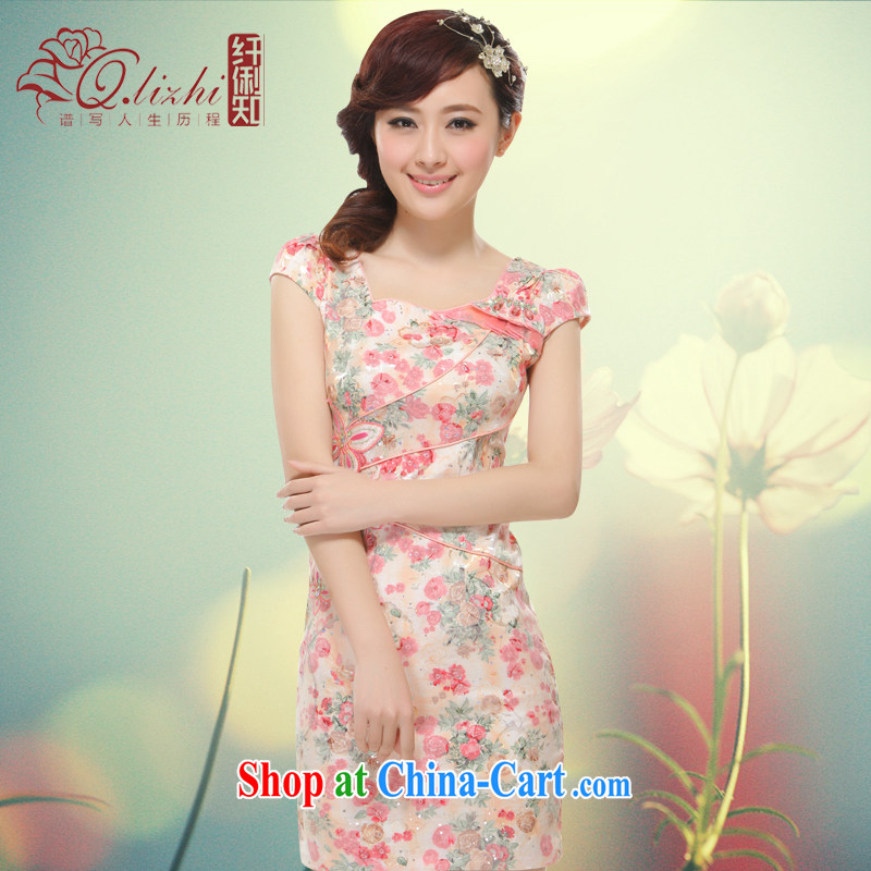 Slim li know 2015 spring and summer new stylish improvement for a small dress water drilling and elegant antique OL name Yuan Chinese wind QLZ Q 15 6007 pink S