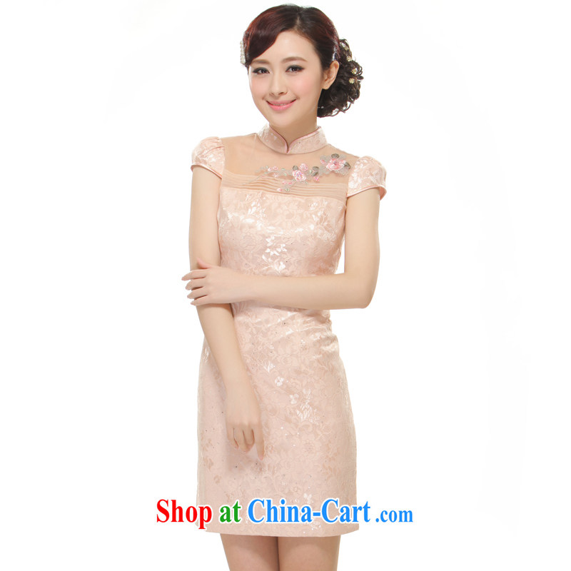 Slim li know 2015 spring and summer new European root yarn hand embroidery only the small dress retro improved elegant qipao dress QW B 35 642 pink S