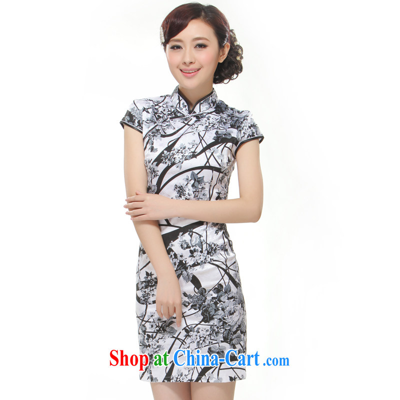 Slim li know 2015 spring and summer new painting China wind retro elegant and stylish short cheongsam dress QW 2 - 518 water and ink container XL