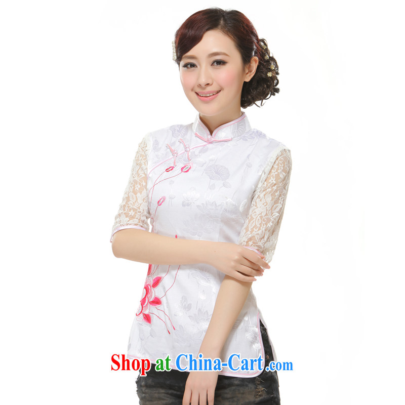 Slim li know 2014 new Ms. replacing T-shirt Openwork lace embroidery improved stylish short cheongsam QW 2 - 113 white XXL
