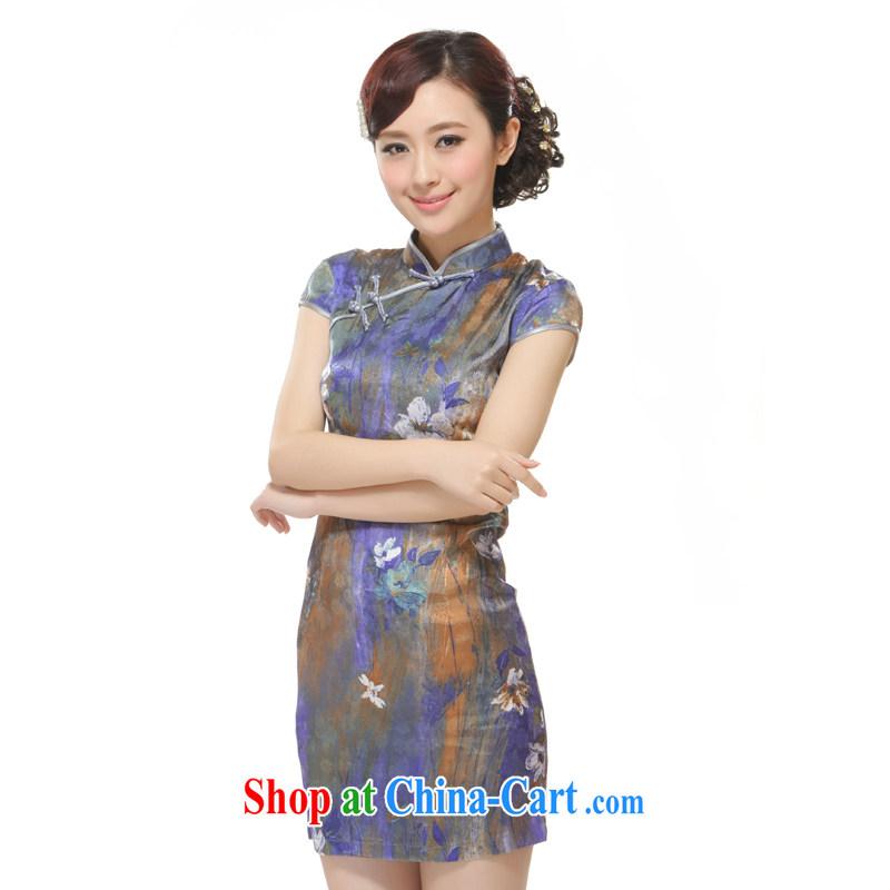 Slim li know 2015 new, Purple, Ms. streaking Lotus stylish improved cultivation short cheongsam QW 2522 purple XL