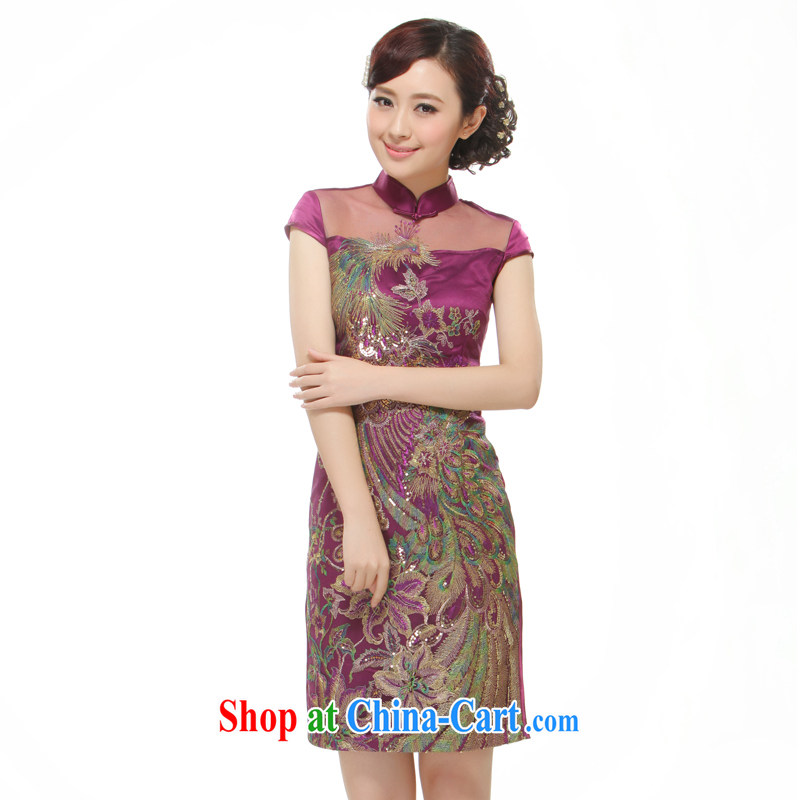 Slim li know 2015 New Women Fashion improved cultivating short cheongsam dress purple Phoenix decals QR 528 purple XL