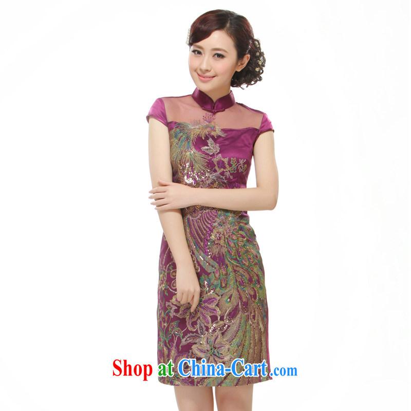 Slim li know 2015 New Women Fashion improved cultivating short cheongsam dress purple Phoenix decals QR 528 purple XL