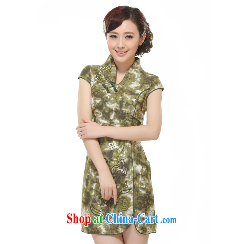Slim li know 2014 new women retro improved stylish beauty low collar short cheongsam QW 2531 green XL