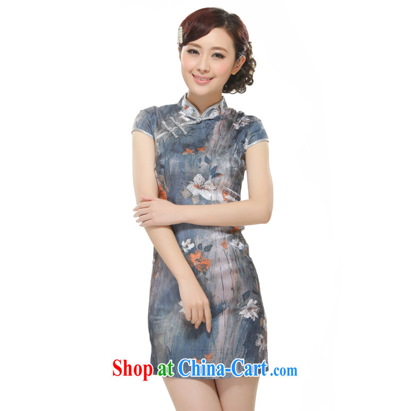 Slim li know 2015 new, streaking Lotus gray retro improved cultivating cheongsam QW 2524 gray XL