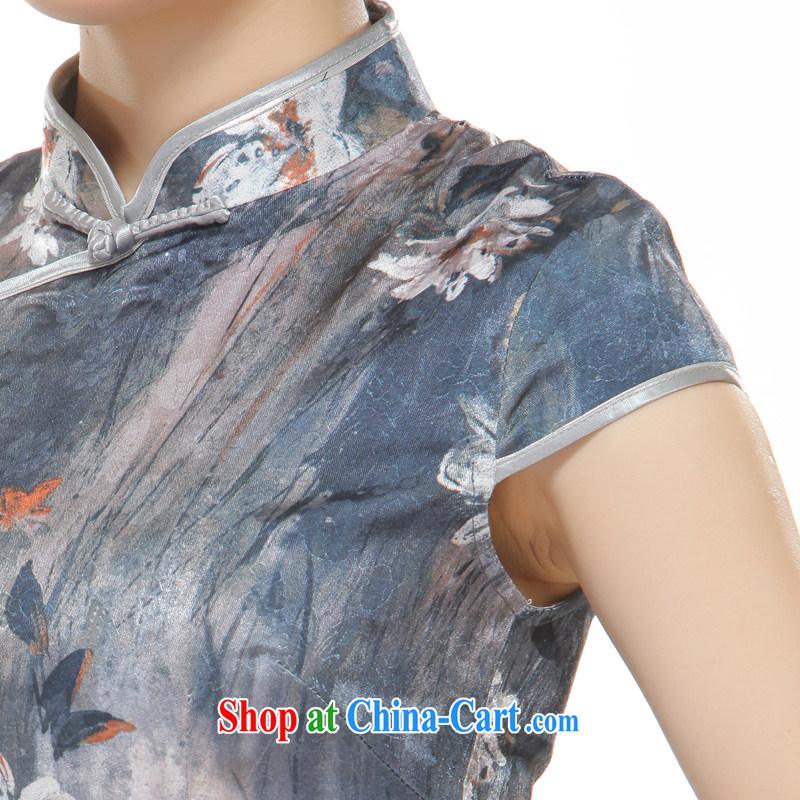 Slim li know 2015 new, streaking Lotus gray retro improved cultivating cheongsam QW 2524 gray XL, slim Li (Q . LIZHI), online shopping