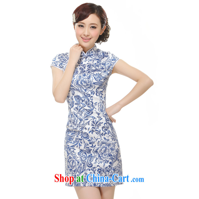 Slim li know that 2015 new female blue and white porcelain antique style elegant and stylish without upgrading the forklift truck cheongsam QW 2521 blue XL