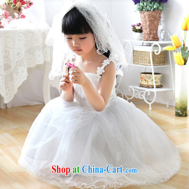 Moon ? guijin flowers with hanging flower dress Princess dress flower dress children's wear T 28 m White 10 yards 7 days Suzhou shipping