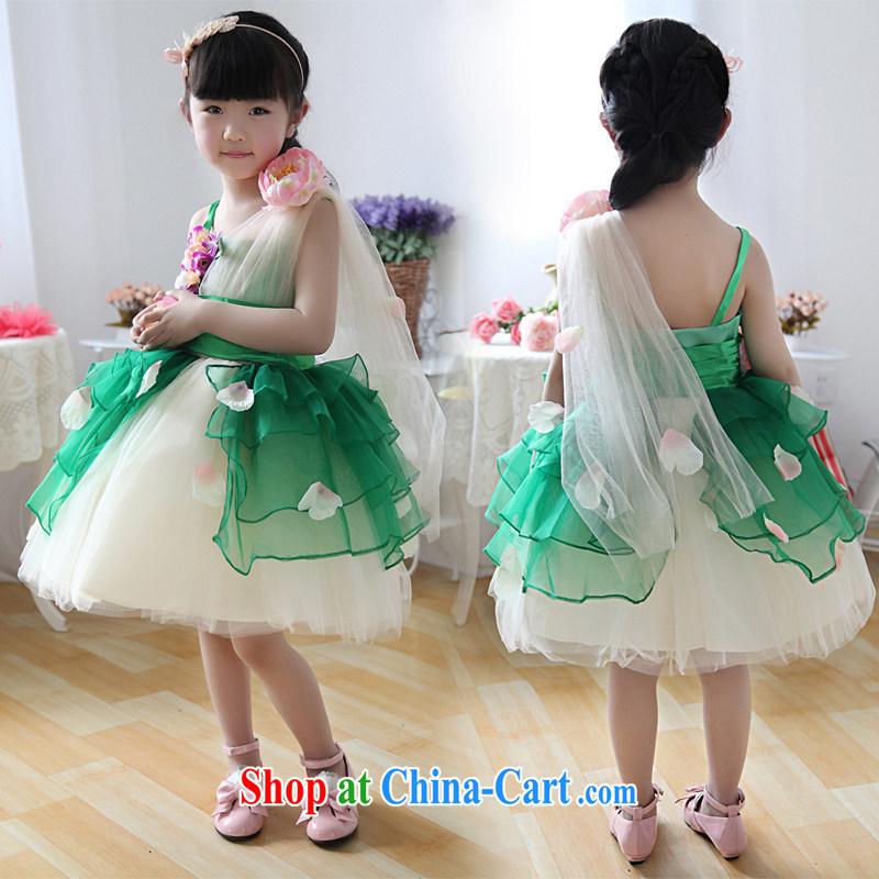 Moon ? guijin children children dress uniform performance dance clothing sleeveless Princess dress T 32 green 10 yards from Suzhou shipping