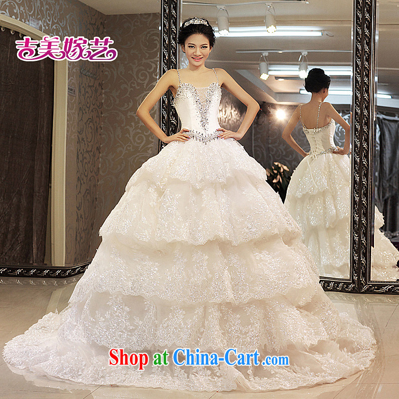 wedding dresses Jimmy married arts 2013 new strap with Korean sweet Princess skirt tail HT 899 bridal wedding white XL