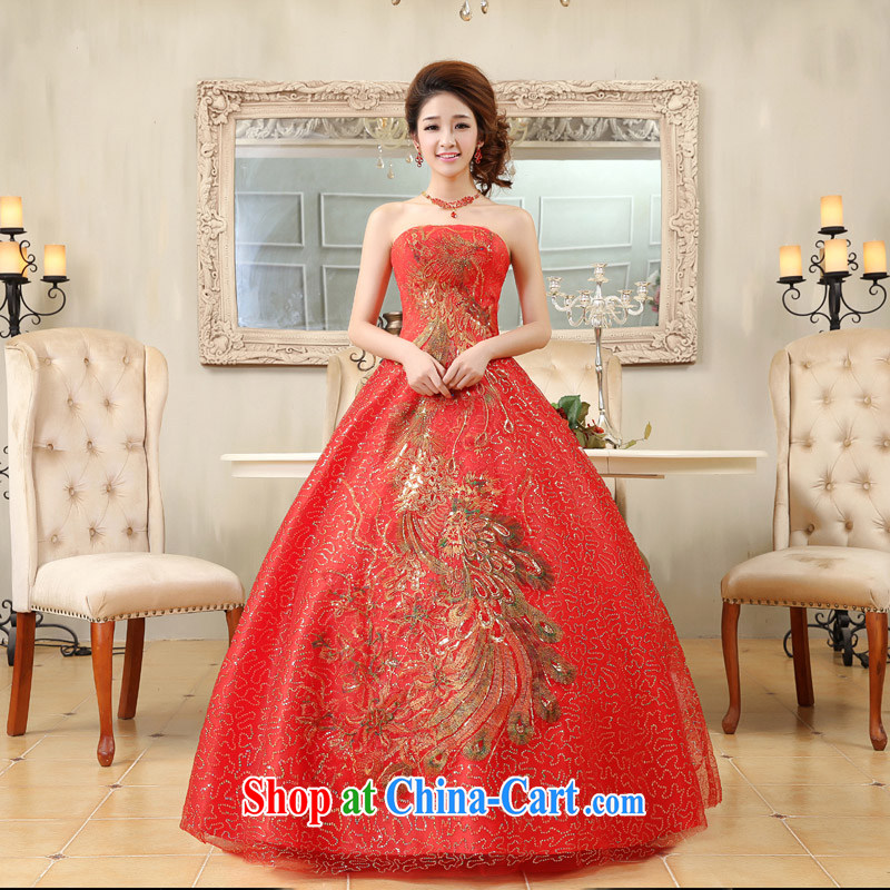Moon �� guijin Korean-style palace, bright red hand towel embroidery chest, bridal wedding dress K 79 big red S code from Suzhou shipping