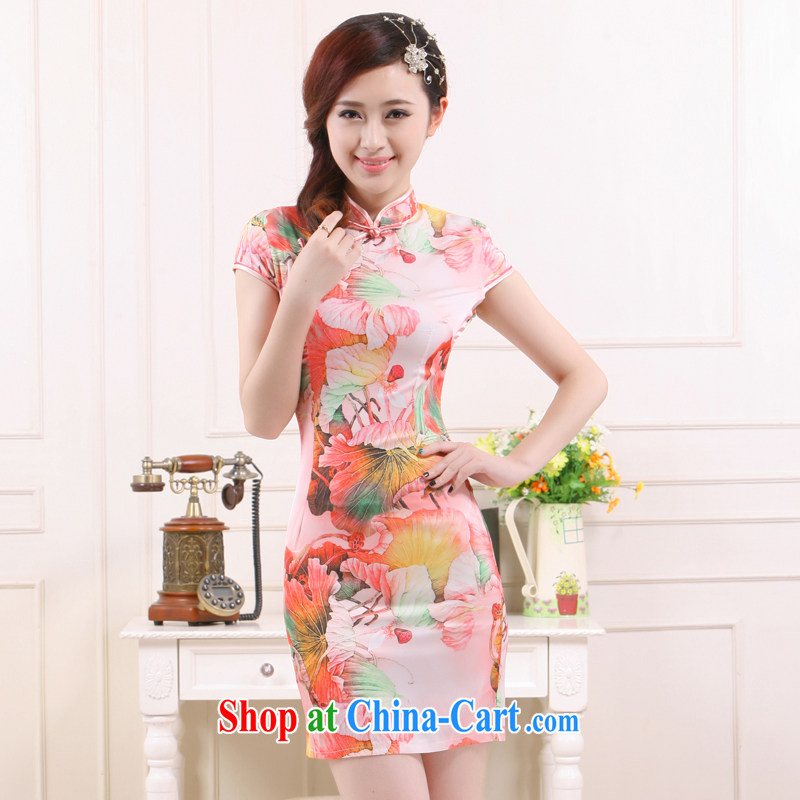 Slim li know 2015 spring and summer new retro style improved cultivation following I should be grateful if you would breeze emulation, Gangnam small dress cheongsam dress QW 4503 toner Lotus XXL