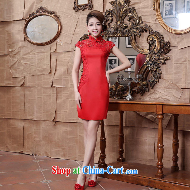 Moon �� guijin Chinese classical refined embroidery lace, elegant short bridal dresses toast served 81 K red XXXL scheduled 3 Days from Suzhou shipping