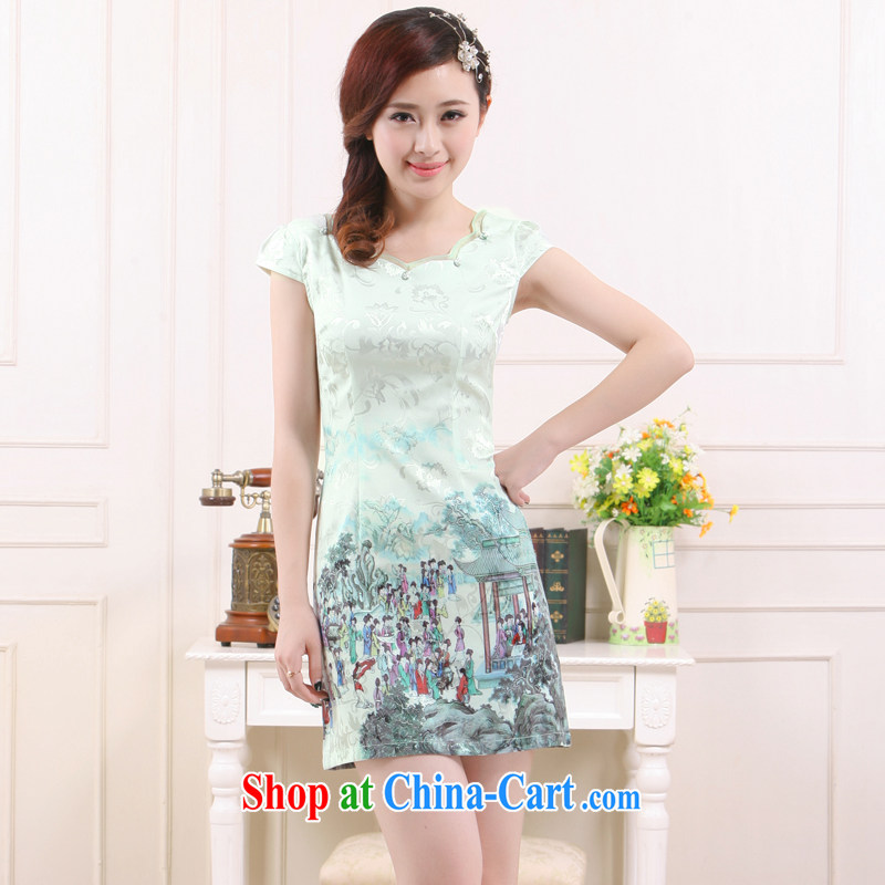 Slim li know 2015 spring and summer new light in Gangnam-gu, Chinese style qipao retro improved stylish beauty dress QC 3 - 7896 cyan XL