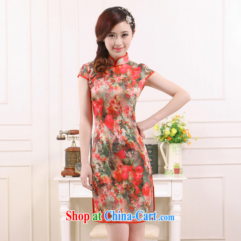 Summer 2015 new, improved retro style beauty Short low-power the truck qipao elegant milk silk slim Li know QR 0524 fancy XL