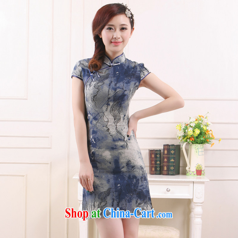 Slim li know 2015 spring and summer new health green breathable beauty retro improved stylish linen short cheongsam QW4510 gray XXL