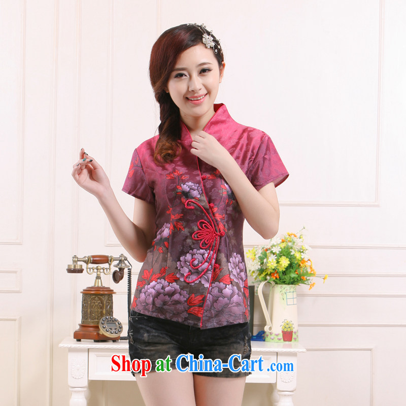 Summer 2015 new Ms. loading new stylish improved cultivation short shirt elegant qipao slim li know QW - 115 fuchsia XXL