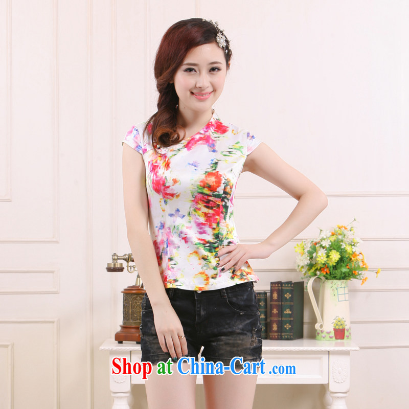Summer 2015 new Chinese Antique Ms. improved cultivating short T-shirt ethnic wind slim Li know QW - 117 White Red XXL
