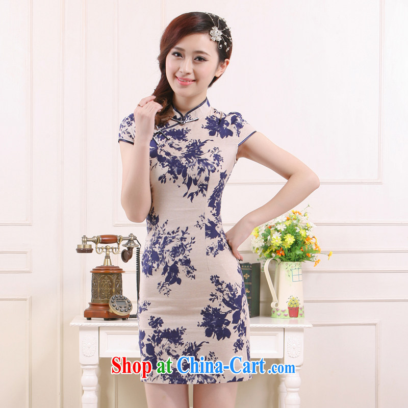 Slim li know 2015 spring and summer new, linen breathable comfort and refined antique style cheongsam beauty QW 451 light card its XXL