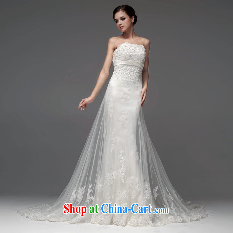 A yarn wedding dresses 2015 new Korean-style bare chest wedding-waist crowsfoot lace wedding NW 0702 white XL code 20 days pre-sale