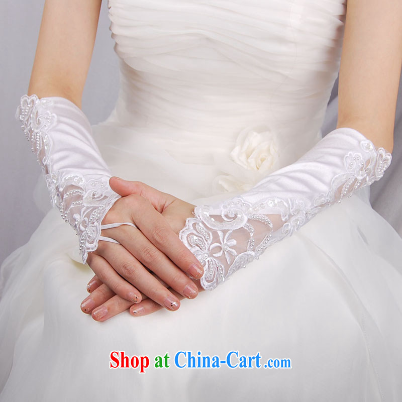 MSLover lace flower manually staple beads mark a long, satin bridal wedding gloves LST 120,901 white