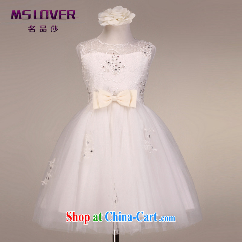 MSLover high-end lace sleeveless dress girls Princess dress children dance stage dress wedding dress flower girl dress 5815 white 10 yards (3 - 7 Day Shipping)