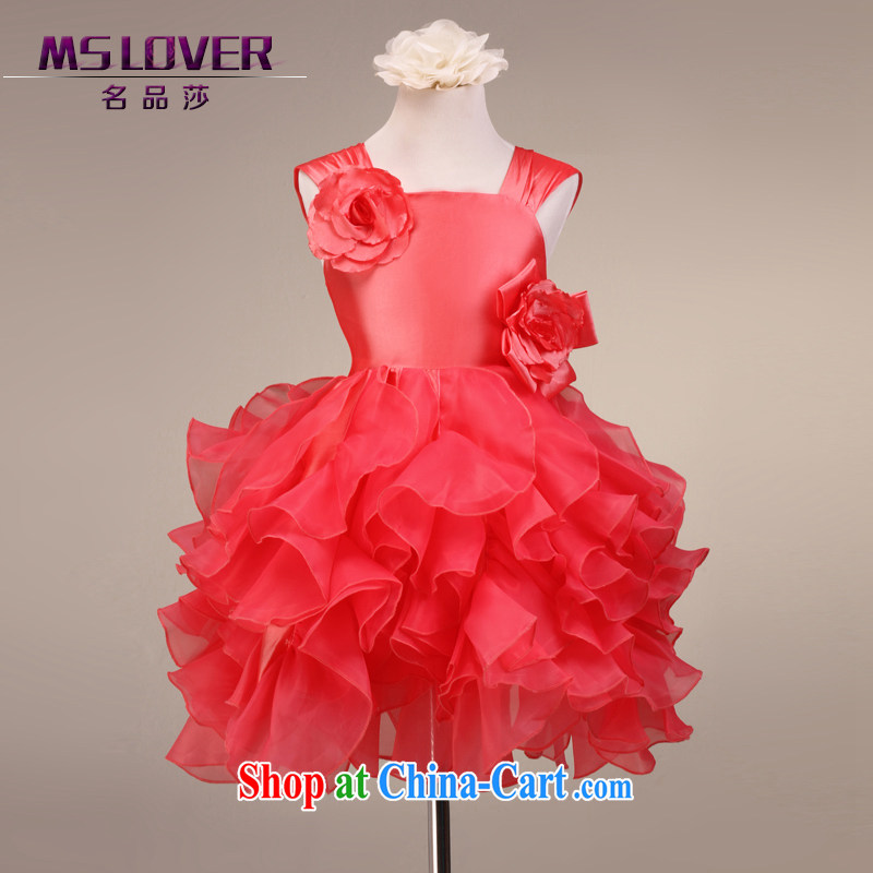 MSLover straps flowers shaggy skirts girls Princess dress children dance stage dress wedding dress flower girl dress 9081 melon red 6