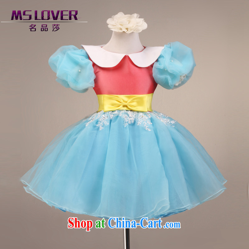 MSLover fairy retro bubble cuff girls Princess dress children dance stage dress wedding dress flower girl dress 9092 blue 6