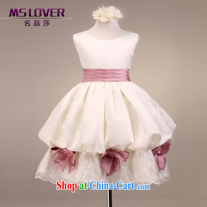 MSLover luxury sleeveless lantern skirt girls skirt Princess children dance stage dress wedding dress flower girl dress 9097 white 4