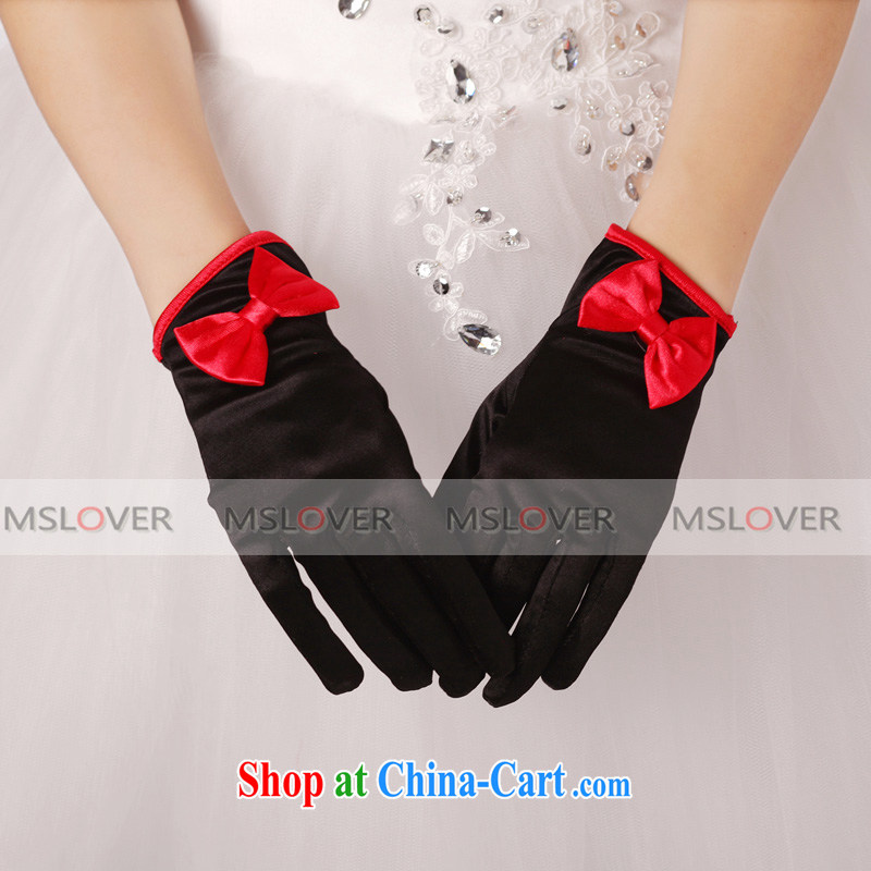 MSLover classic black and red bull bars color Bow Tie Satin 5 refers to a short, Dinner Show bridal wedding gloves wedding gloves ST 1316 black