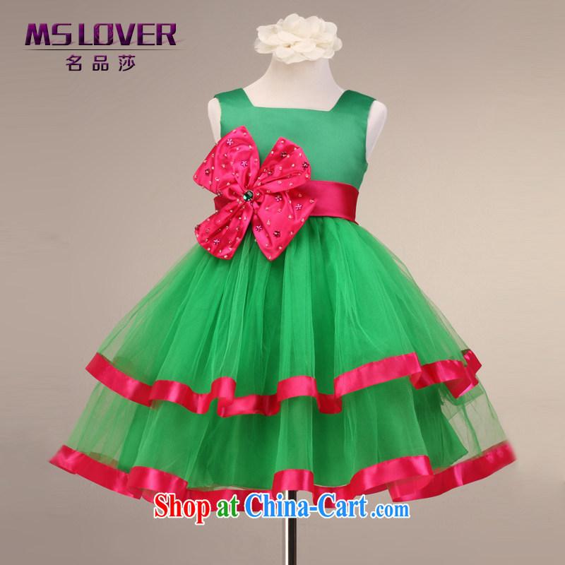 Fresh MSLover straps shaggy skirts girls Princess dress children dance stage dress flower dress FD 130,602 green 4