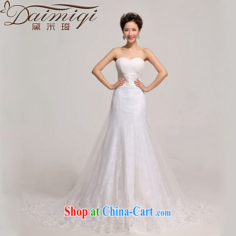 Diane M Qi 2014 new tail wedding wedding photography Korean sweet lace bare chest-waist-tail wedding white XXL