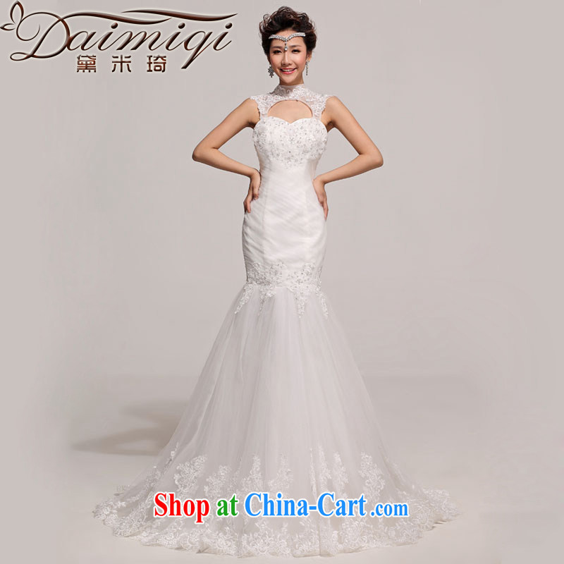 Diane M Ki wedding dresses new 2014 the waist crowsfoot tail Korean Princess a field shoulder lace wedding white L