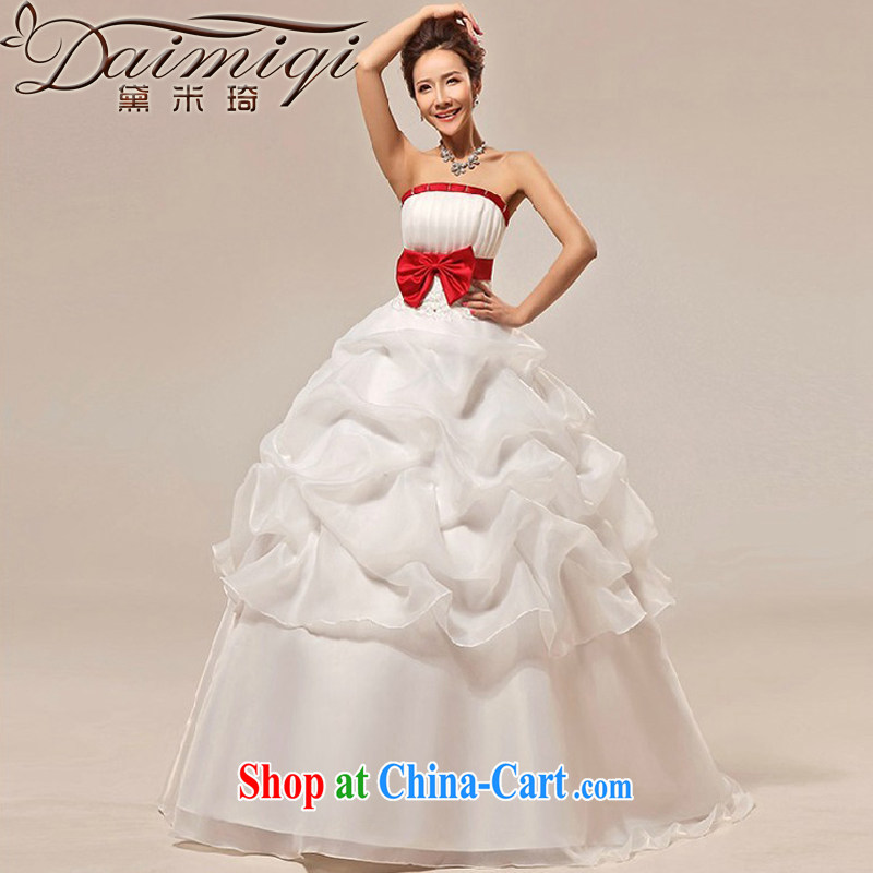 Diane M Ki new wedding dresses stylish Korean sweet Princess Mary Magdalene chest strap marriages wedding dresses white XXL