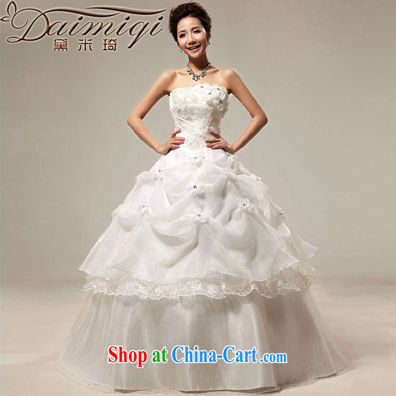 wedding dresses new 2014 Korean sweet Princess wedding dresses with bare chest retro flouncing wedding dress summer white XXL