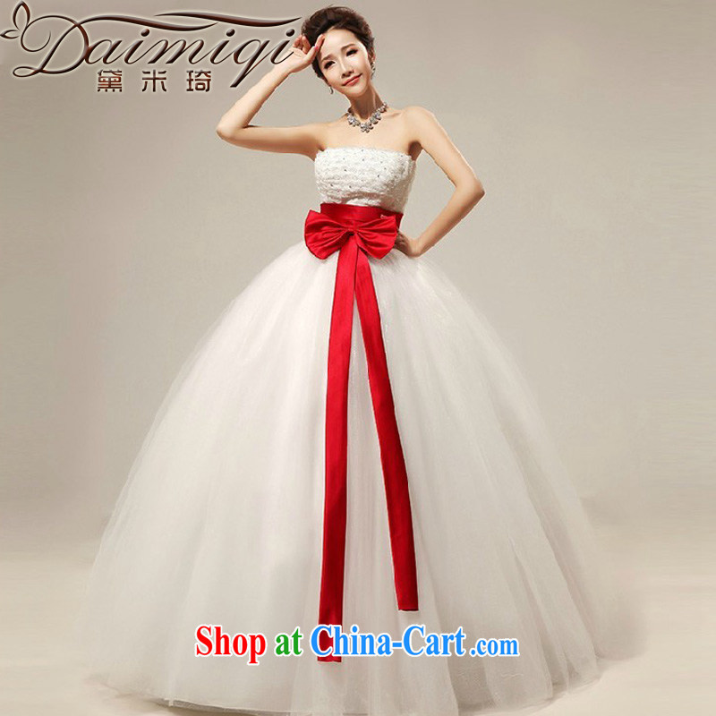 Diane M Qi 2014 sweet Bow Tie bare chest strap with brides, marriage wedding dresses wedding new white XXL