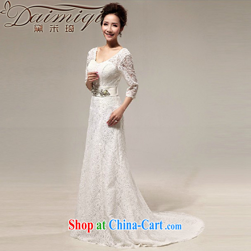 Diane M Ki wedding tail 2014 new wedding dresses small tail Princess wedding Korean sweet crowsfoot wedding white XXL