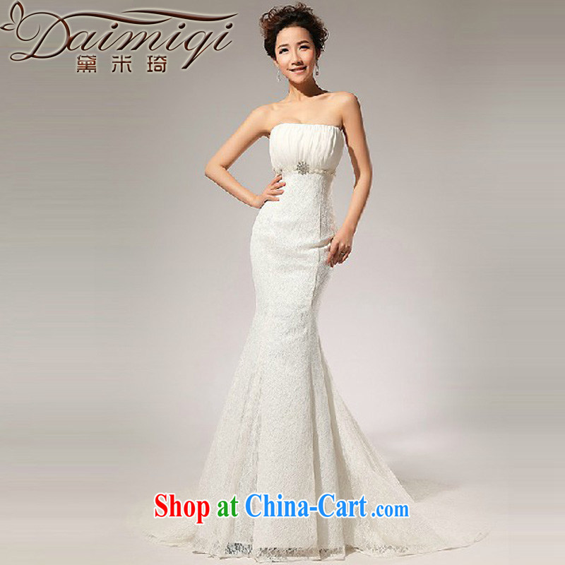 Diane M Ki Korean Princess wedding dresses 2014 new lace-alignment to the waist skirt A erase chest wedding dresses long skirt white XXL