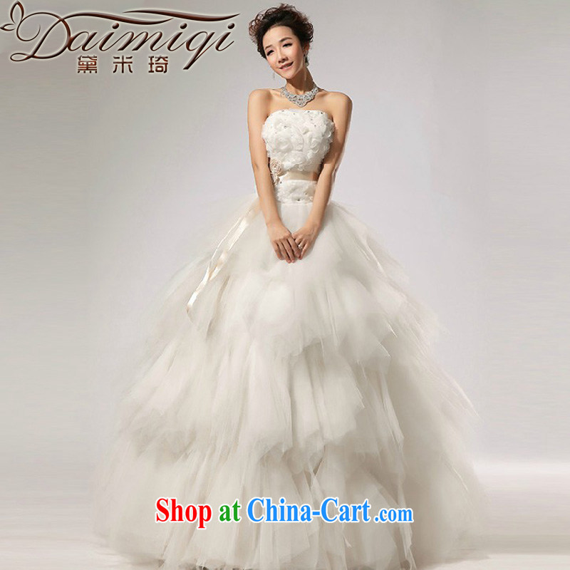 Diane M Qi 2014 New VERY WANG retro elegant sweet Mary Magdalene chest stylish wedding white XXL
