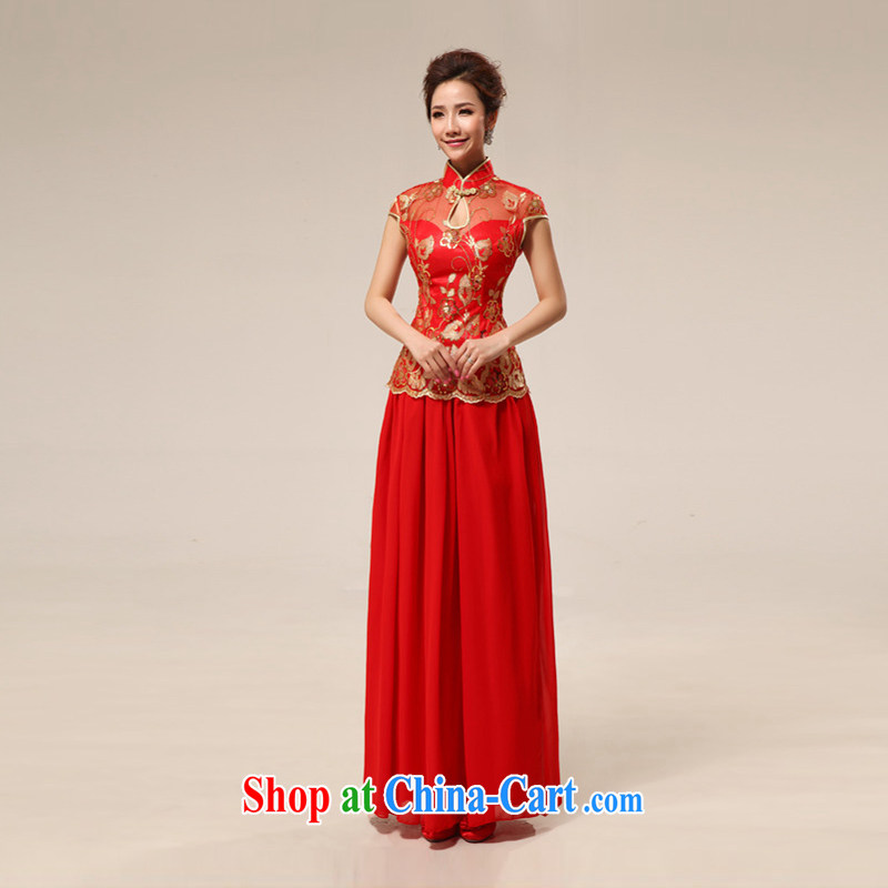 Moon 珪 guijin cheongsam marriages retro lace improved, Long Red transparent lace sexy outfit 68 big red XXXL from Suzhou shipping