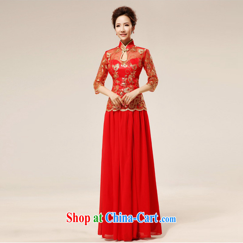 Moon �� guijin upper and lower two-piece classic cheongsam Red temptation sexy transparent toast. Q 75 large red XXL code from Suzhou shipping