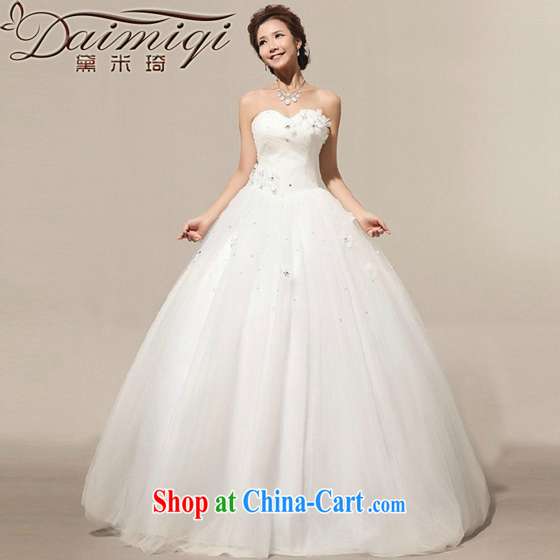 Diane M Qi 2014 New on the new Manual flowers large skirts bridal Korean wedding dresses white XXL