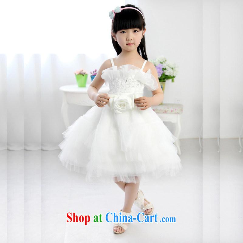 Moon 珪 guijin children dress skirt shaggy dress flower Princess children's wear skirts girls Korean children wedding dress evening dress T 46 ivory 10 yards from Suzhou shipping