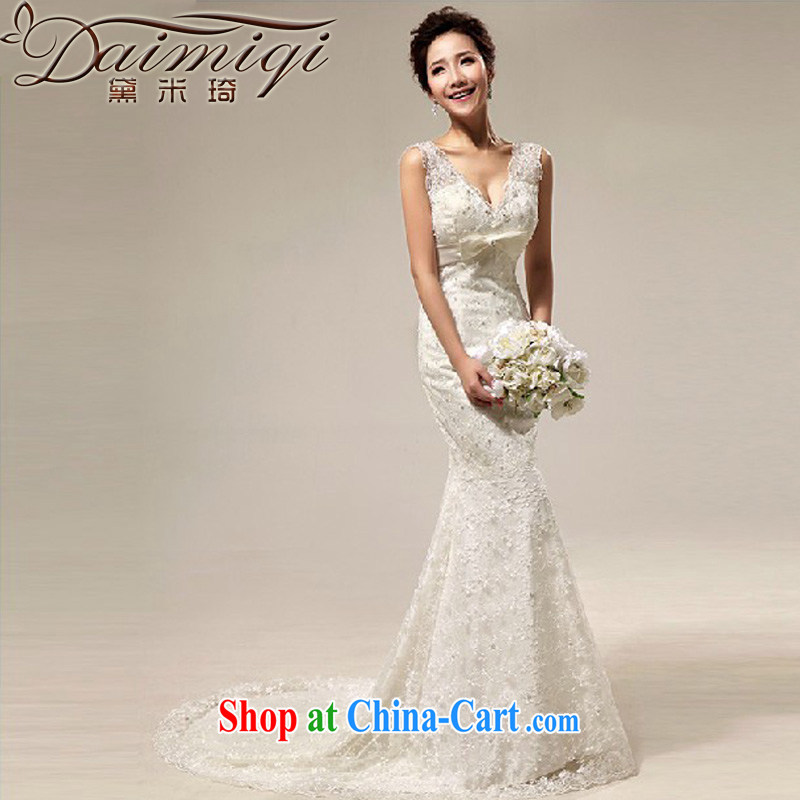 Diane M Qi 2014 New royal old fashioned sense V Deluxe lace beauty crowsfoot tail bridal wedding cream M