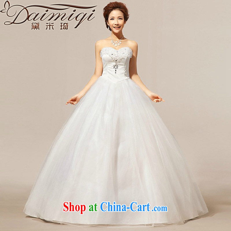 Diane M Ki wedding dresses 2014 summer new erase chest Korean lace crystal wood drill shaggy wedding dresses white XXL