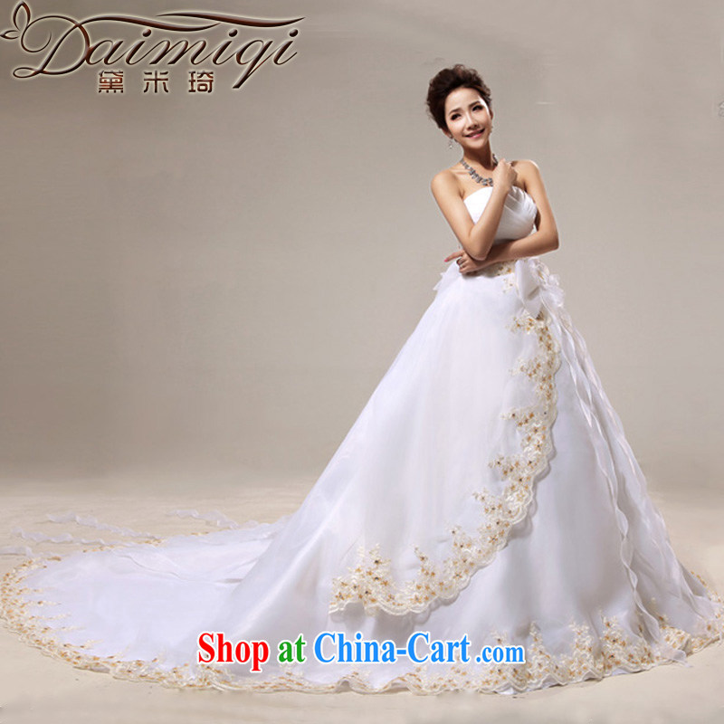 Diane M Ki wedding dresses new 2014 Korean-style wedding wiped chest Princess large tail wedding spring wedding white XXL