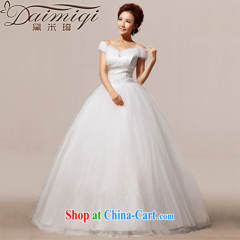Diane M Ki new paragraph on 2014 Korean Beauty graphics thin the Field shoulder with shaggy wood drill wedding white XXL