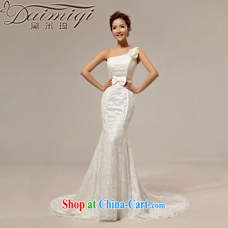 Diane M Qi 2014 new wedding crowsfoot tail wedding Korean Beauty retro single shoulder lace straps wedding band cream XXL