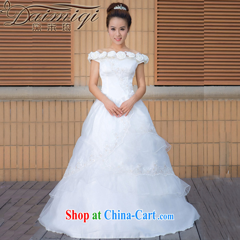 Diane M Ki wedding dresses new 2014 version won the field shoulder wedding dresses larger pregnant women to wear wedding dresses white XXL